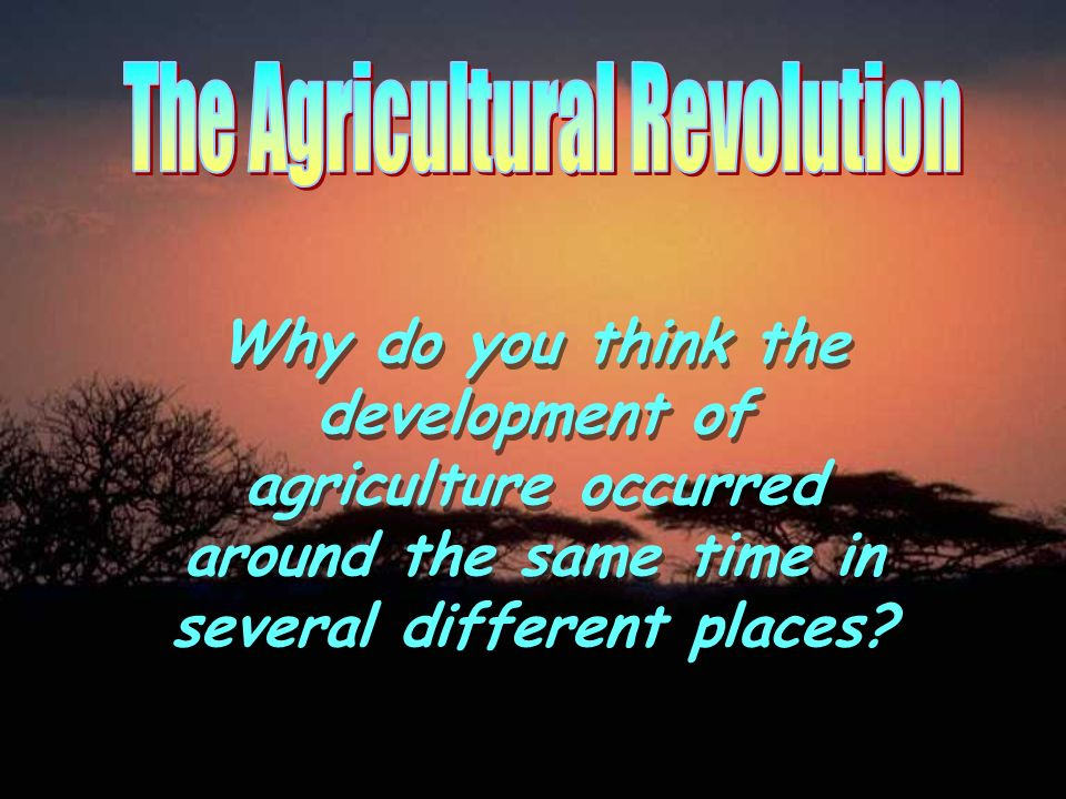 Why do you think the development of agriculture occurred around the same time in several different places?
