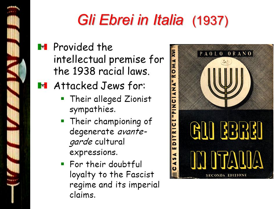 Gli Ebrei in Italia (1937) Provided the intellectual premise for the 1938 racial laws. Attacked Jews for: Their alleged Zionist sympathies. Their cham