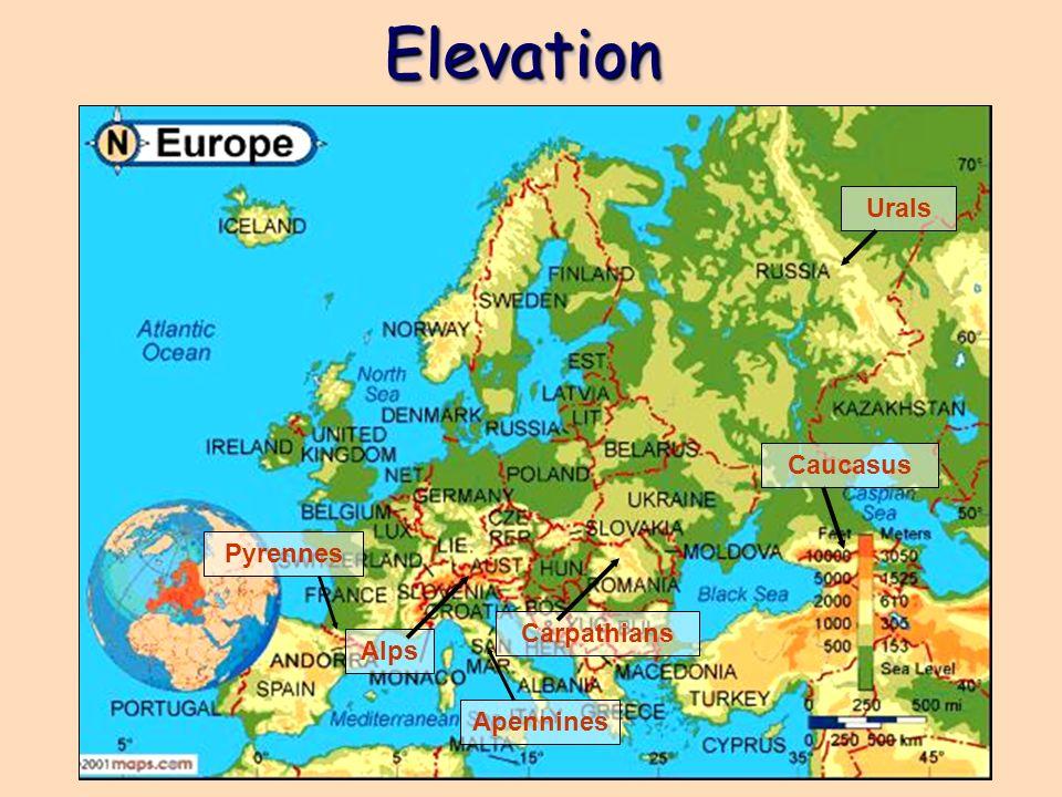 ElevationElevation Alps Carpathians Caucasus Urals Pyrennes Apennines