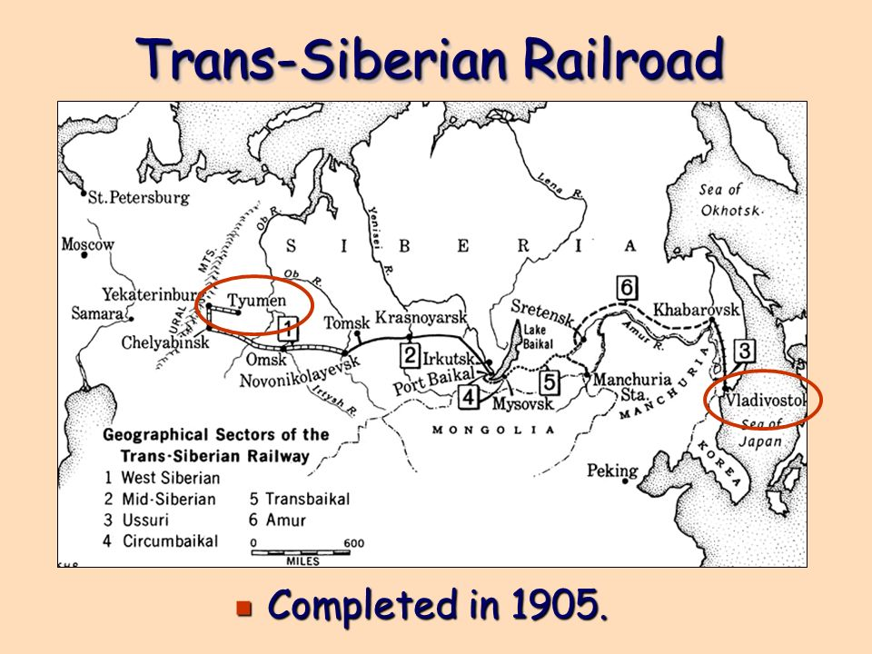 Trans-Siberian Railroad e Completed in 1905.
