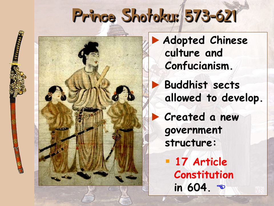 Yamato Period: 300-710 Great Kings era Began promoting the adoption of Chinese culture: a Confucianism. a Language (kanji characters). a Buddhist sect