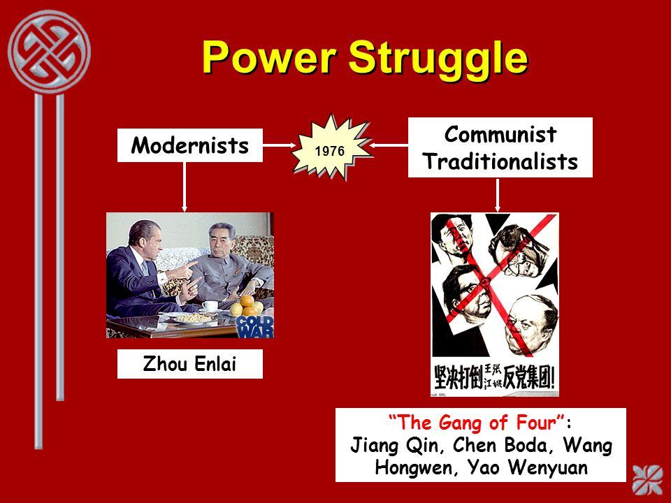 Power Struggle Modernists Communist Traditionalists Zhou Enlai The Gang of Four: Jiang Qin, Chen Boda, Wang Hongwen, Yao Wenyuan 1976