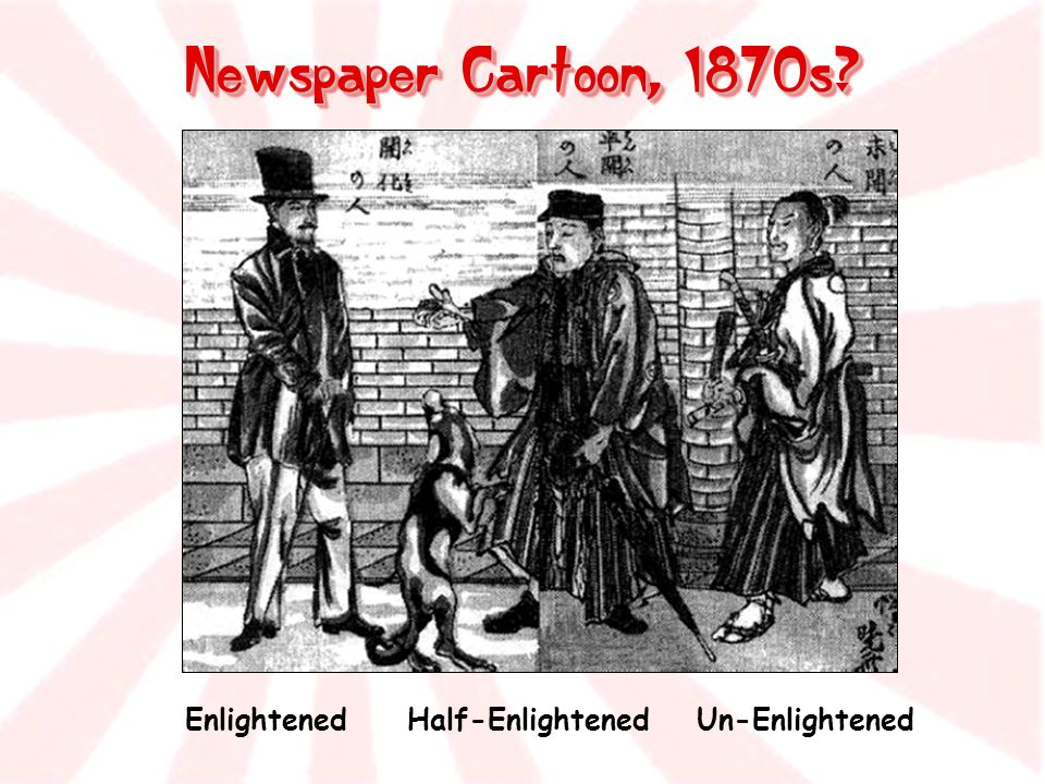 Newspaper Cartoon, 1870s Enlightened Half-Enlightened Un-Enlightened