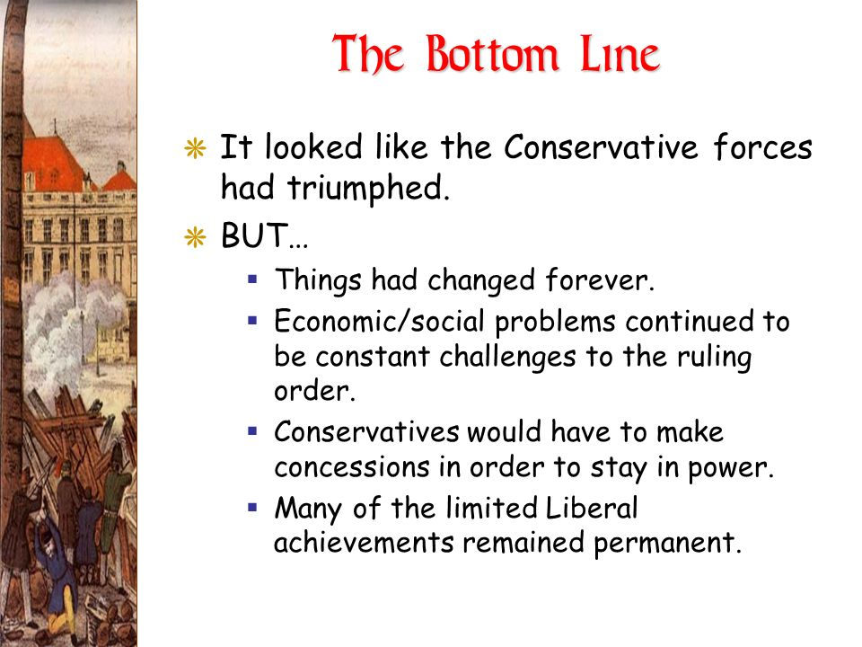 The Bottom Line GIt looked like the Conservative forces had triumphed. GBUT… Things had changed forever. Economic/social problems continued to be cons