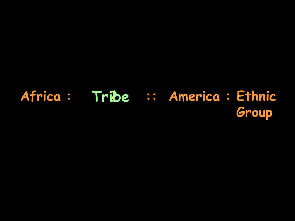 Africa : :: America : Ethnic Group ?Tribe