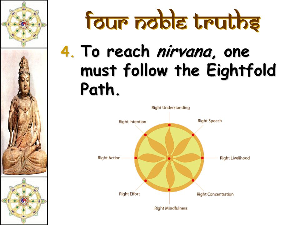 Four Noble Truths 3. The solution is to eliminate desire and attachments. (Nirvana = extinction)