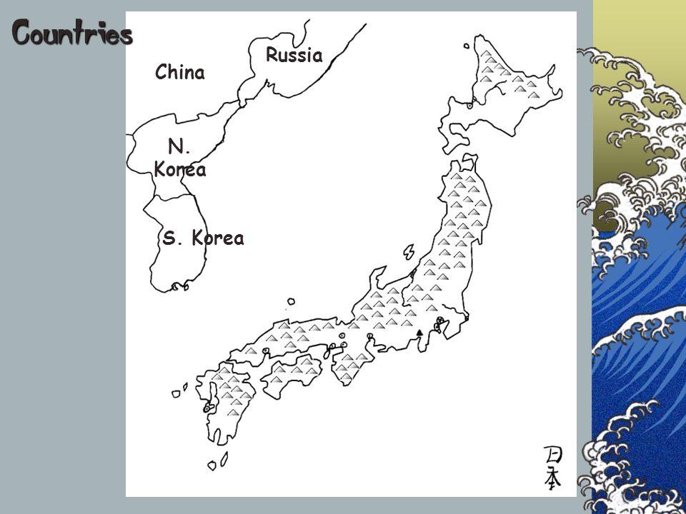 Countries Russia China N. Korea S. Korea