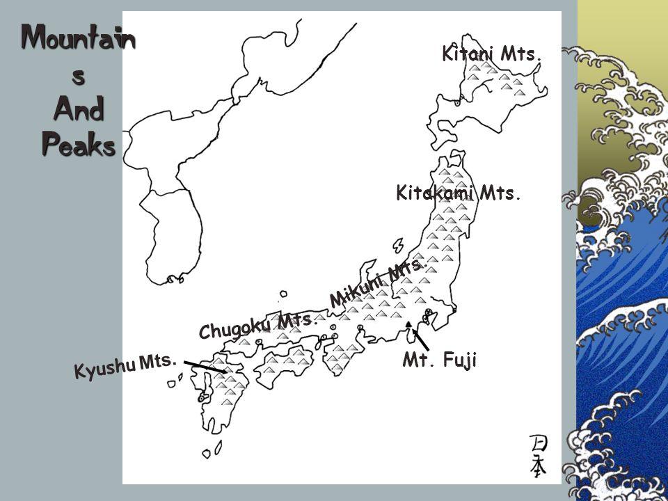 Kitani Mts. Kitakami Mts. Mikuni Mts. Chugoku Mts. Kyushu Mts. Mt. Fuji Mountain s And Peaks