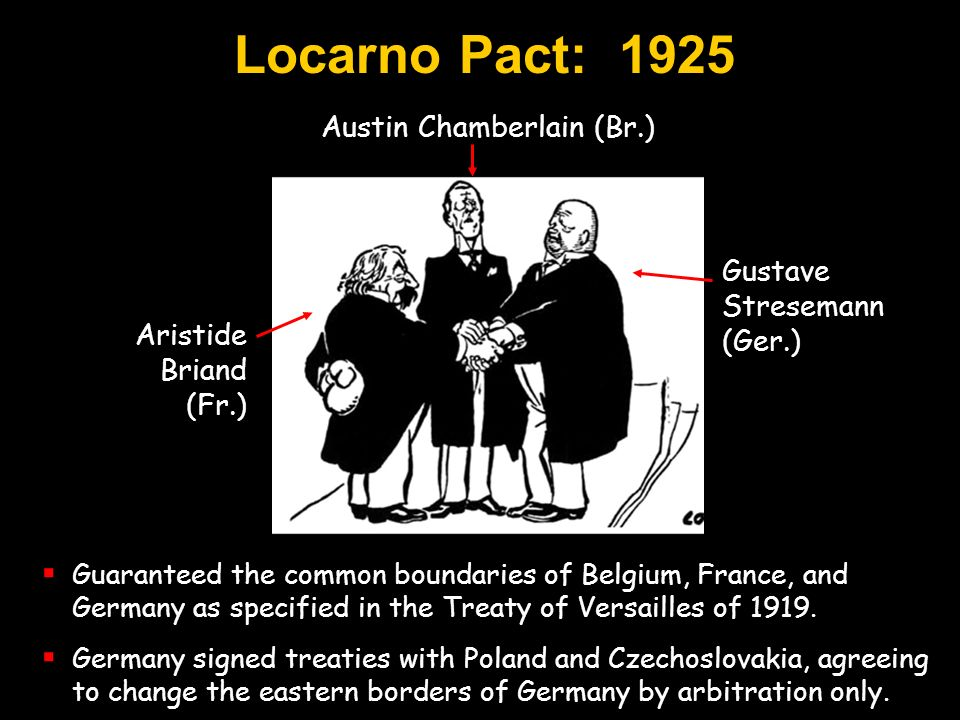 Gustave Stresemann (Ger.) Aristide Briand (Fr.) Austin Chamberlain (Br.) Guaranteed the common boundaries of Belgium, France, and Germany as specified