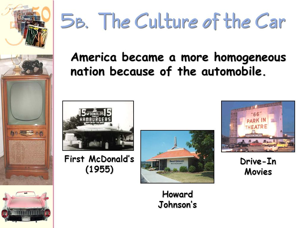 5 A. The Culture of the Car Car registrations: 1945 25,000,000 1960 60,000,000 2-family cars doubles from 1951-1958 1956 Interstate Highway Act larges