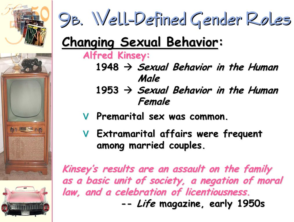 9 A. Well-Defined Gender Roles The ideal modern woman married, cooked and cared for her family, and kept herself busy by joining the local PTA and lea