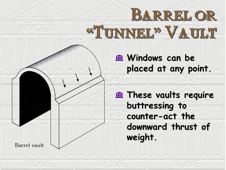 Barrel or Tunnel Vault K Windows can be placed at any point. K These vaults require buttressing to counter-act the downward thrust of weight.