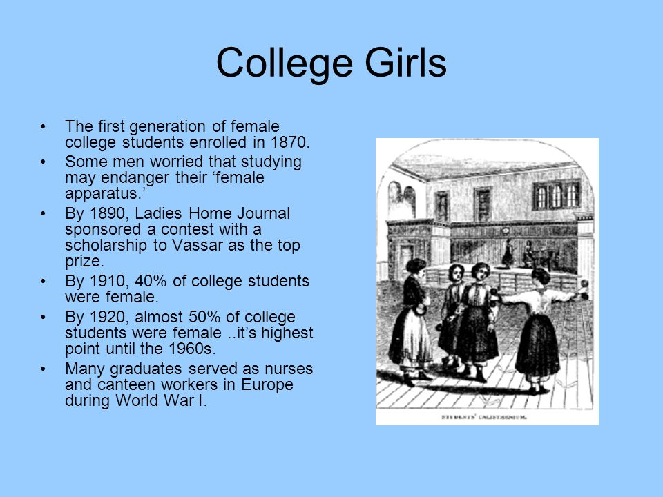 College Girls The first generation of female college students enrolled in 1870.