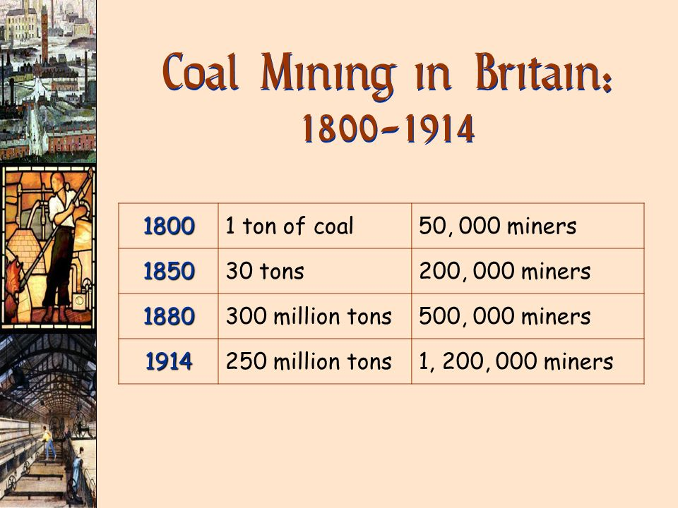 18001 ton of coal50, 000 miners 185030 tons200, 000 miners 1880300 million tons500, 000 miners 1914250 million tons1, 200, 000 miners Coal Mining in B