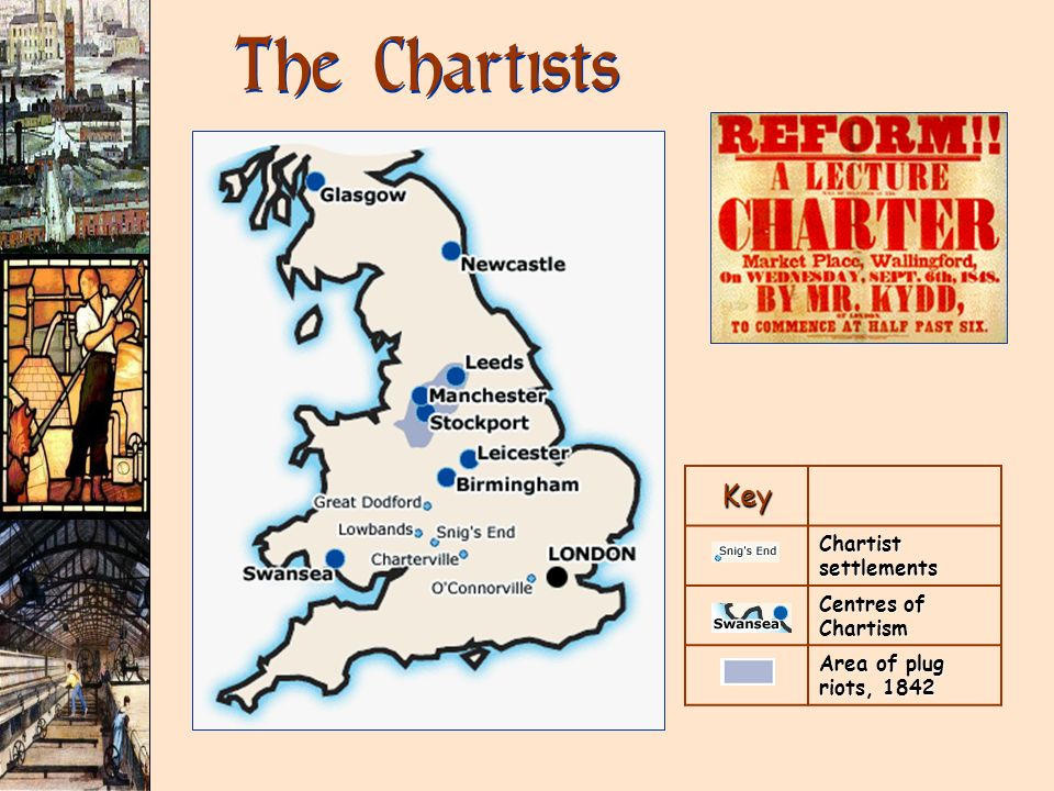 The Chartists Key Chartist settlements Centres of Chartism Area of plug riots, 1842