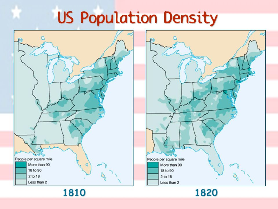 US Population Density 18101820