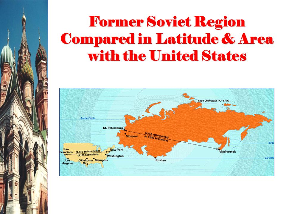 Former Soviet Region Compared in Latitude & Area with the United States