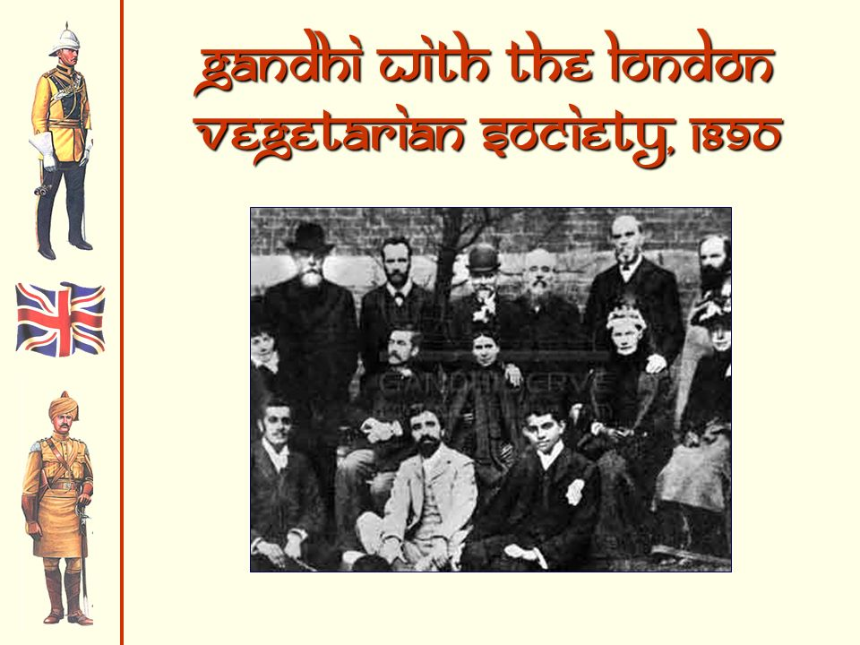 Gandhi with the london vegetarian society, 1890
