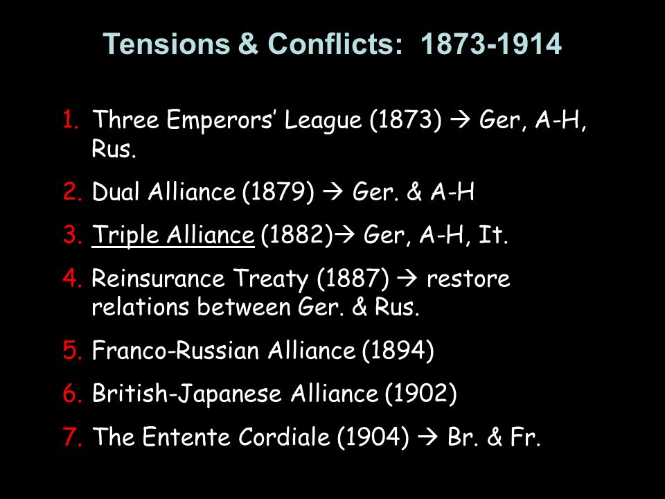 Tensions & Conflicts: 1873-1914 1.Three Emperors League (1873) Ger, A-H, Rus. 2.Dual Alliance (1879) Ger. & A-H 3.Triple Alliance (1882) Ger, A-H, It.
