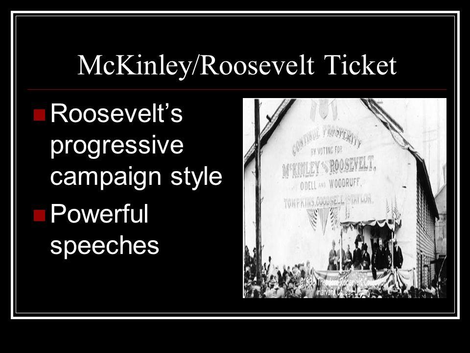 McKinley/Roosevelt Ticket Roosevelts progressive campaign style Powerful speeches