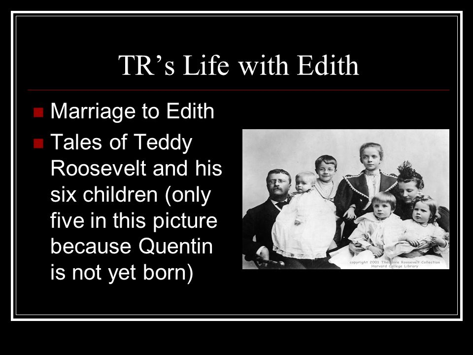 TRs Life with Edith Marriage to Edith Tales of Teddy Roosevelt and his six children (only five in this picture because Quentin is not yet born)