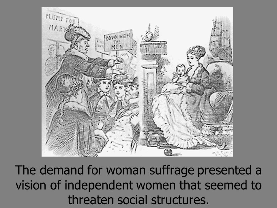 The demand for woman suffrage presented a vision of independent women that seemed to threaten social structures.