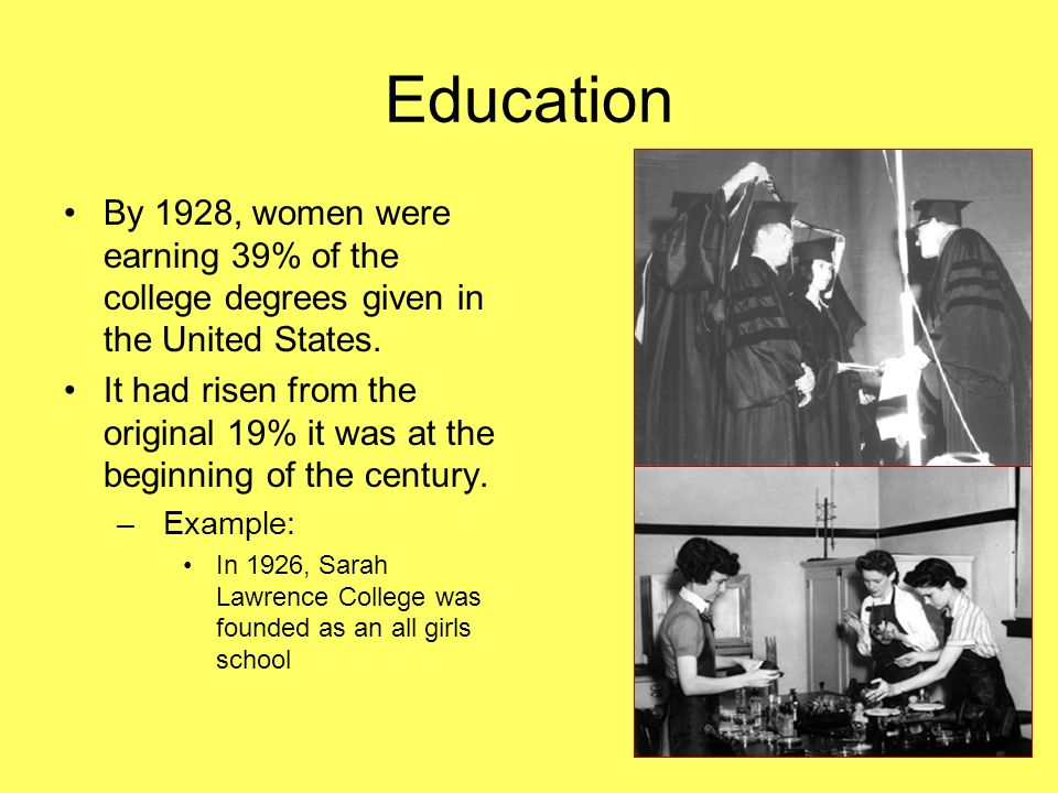 Education By 1928, women were earning 39% of the college degrees given in the United States. It had risen from the original 19% it was at the beginnin