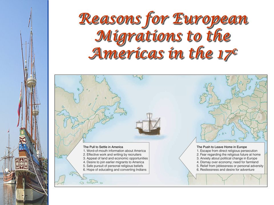 Reasons for European Migrations to the Americas in the 17 c