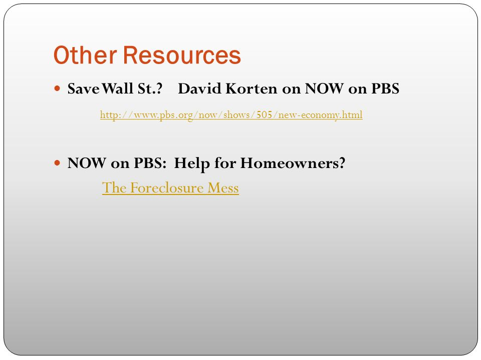 Other Resources Save Wall St..