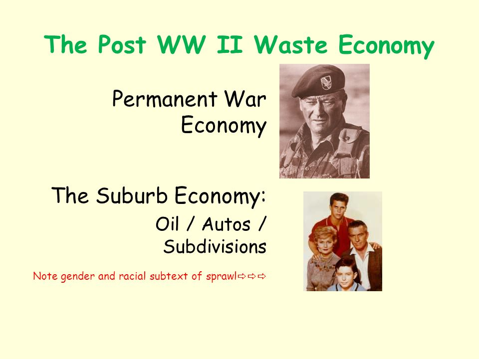 The Post WW II Waste Economy Permanent War Economy The Suburb Economy: Oil / Autos / Subdivisions Note gender and racial subtext of sprawl