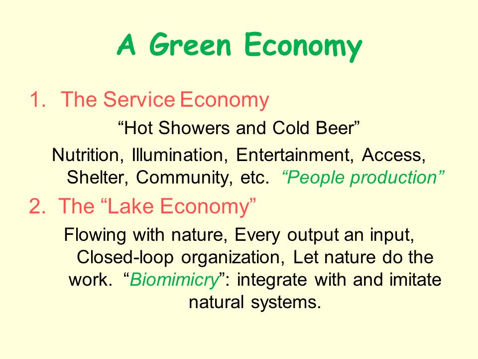 A Green Economy 1.The Service Economy Hot Showers and Cold Beer Nutrition, Illumination, Entertainment, Access, Shelter, Community, etc.