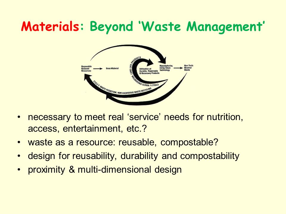 Materials: Beyond Waste Management necessary to meet real service needs for nutrition, access, entertainment, etc.? waste as a resource: reusable, com