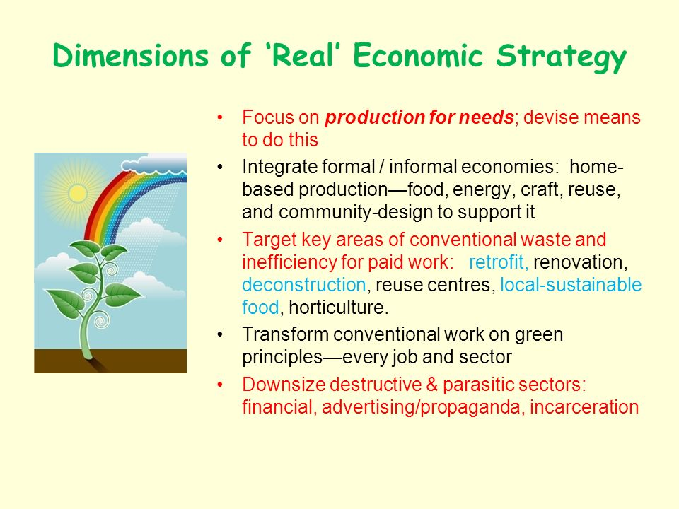 Dimensions of Real Economic Strategy Focus on production for needs; devise means to do this Integrate formal / informal economies: home- based productionfood, energy, craft, reuse, and community-design to support it Target key areas of conventional waste and inefficiency for paid work: retrofit, renovation, deconstruction, reuse centres, local-sustainable food, horticulture.