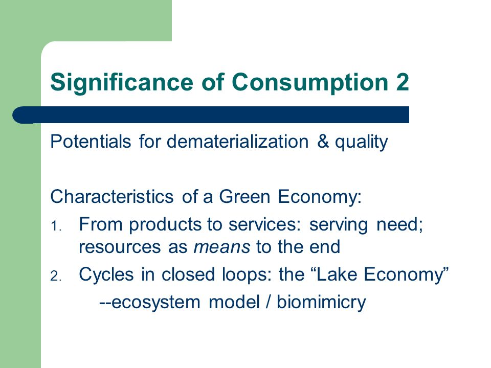 Significance of Consumption 2 Potentials for dematerialization & quality Characteristics of a Green Economy: 1.