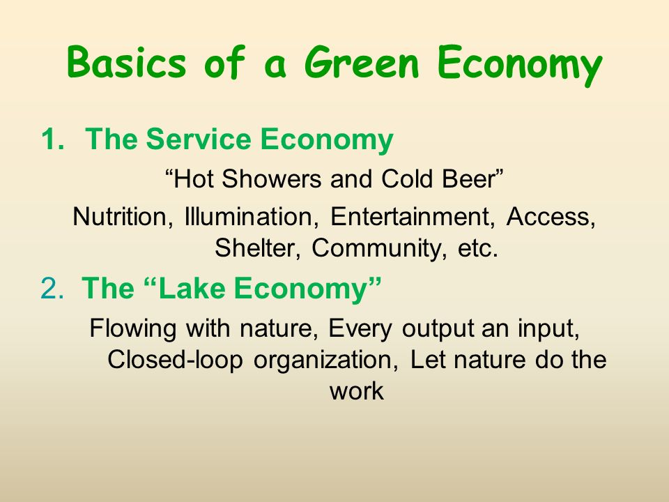 Basics of a Green Economy 1.The Service Economy Hot Showers and Cold Beer Nutrition, Illumination, Entertainment, Access, Shelter, Community, etc. 2.