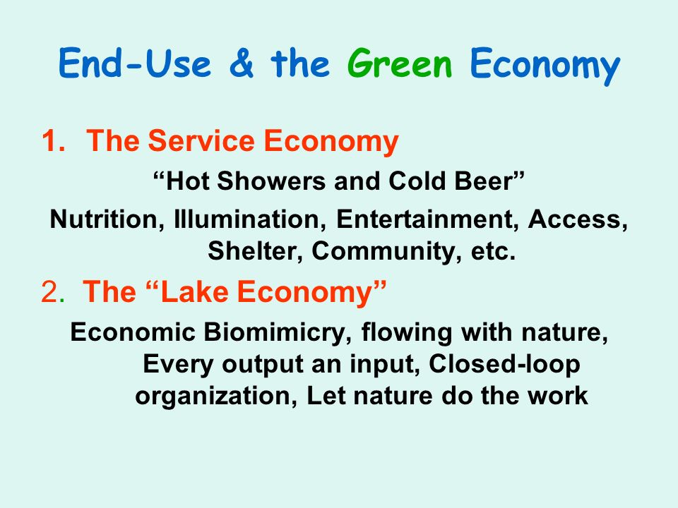 End-Use & the Green Economy 1.The Service Economy Hot Showers and Cold Beer Nutrition, Illumination, Entertainment, Access, Shelter, Community, etc. 2