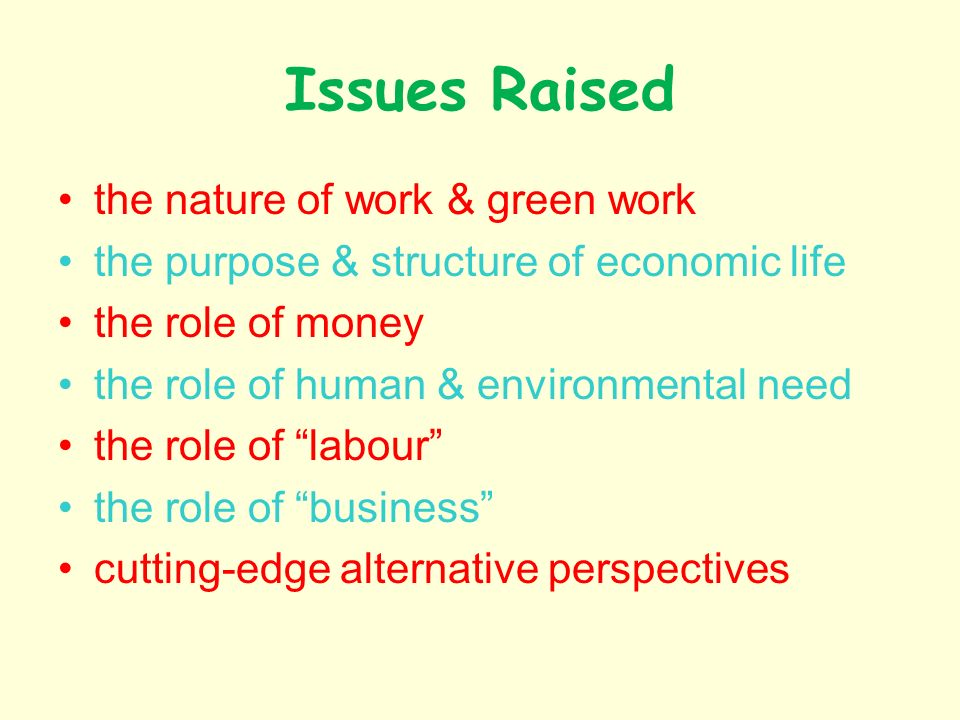 Issues Raised the nature of work & green work the purpose & structure of economic life the role of money the role of human & environmental need the role of labour the role of business cutting-edge alternative perspectives