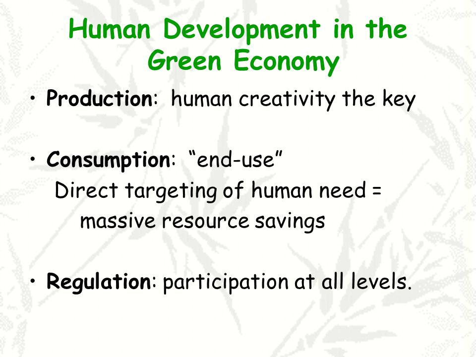 Human Development in the Green Economy Production: human creativity the key Consumption: end-use Direct targeting of human need = massive resource sav