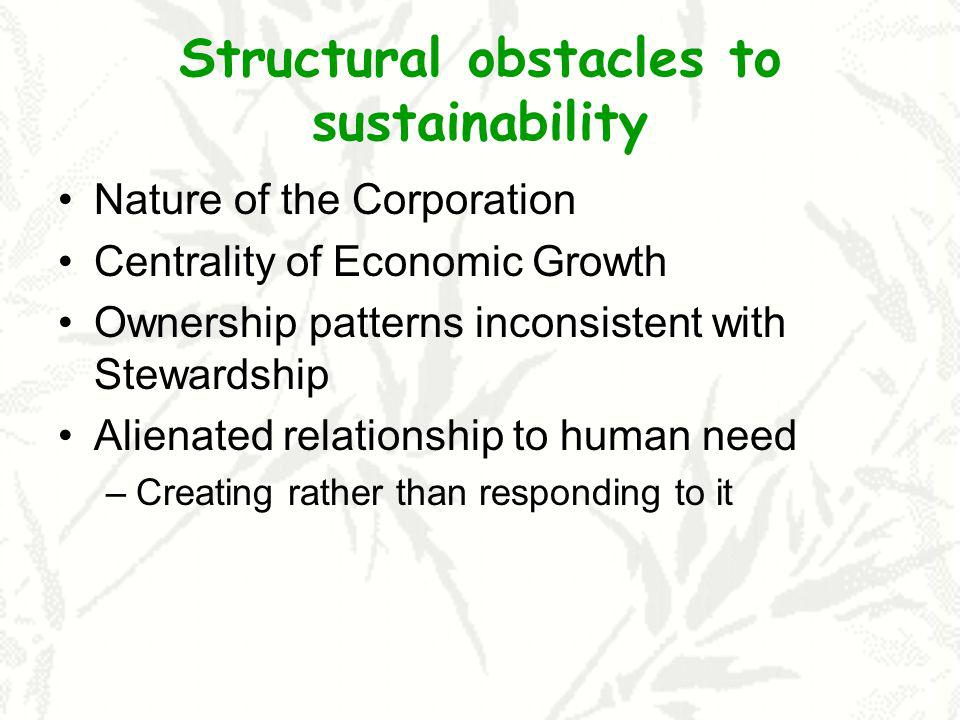 Structural obstacles to sustainability Nature of the Corporation Centrality of Economic Growth Ownership patterns inconsistent with Stewardship Alienated relationship to human need –Creating rather than responding to it
