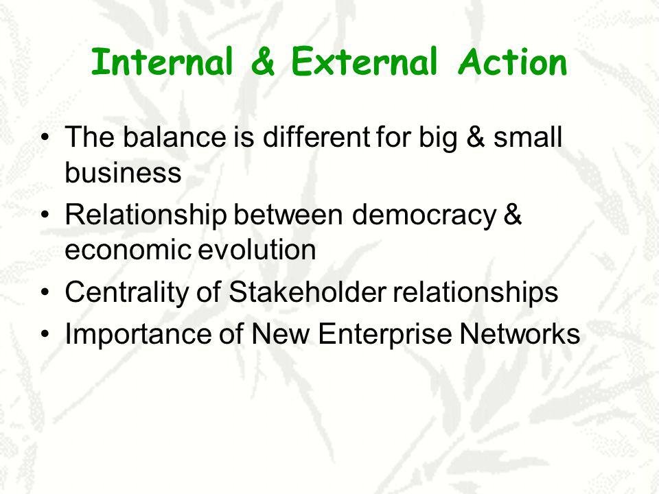 Internal & External Action The balance is different for big & small business Relationship between democracy & economic evolution Centrality of Stakeho