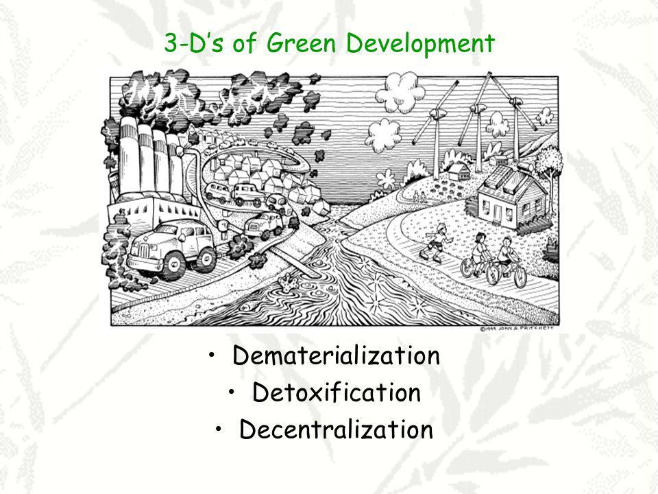 3-Ds of Green Development Dematerialization Detoxification Decentralization
