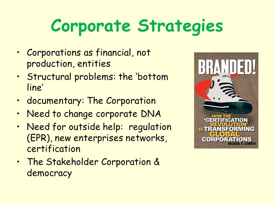 Corporate Strategies Corporations as financial, not production, entities Structural problems: the bottom line documentary: The Corporation Need to change corporate DNA Need for outside help: regulation (EPR), new enterprises networks, certification The Stakeholder Corporation & democracy