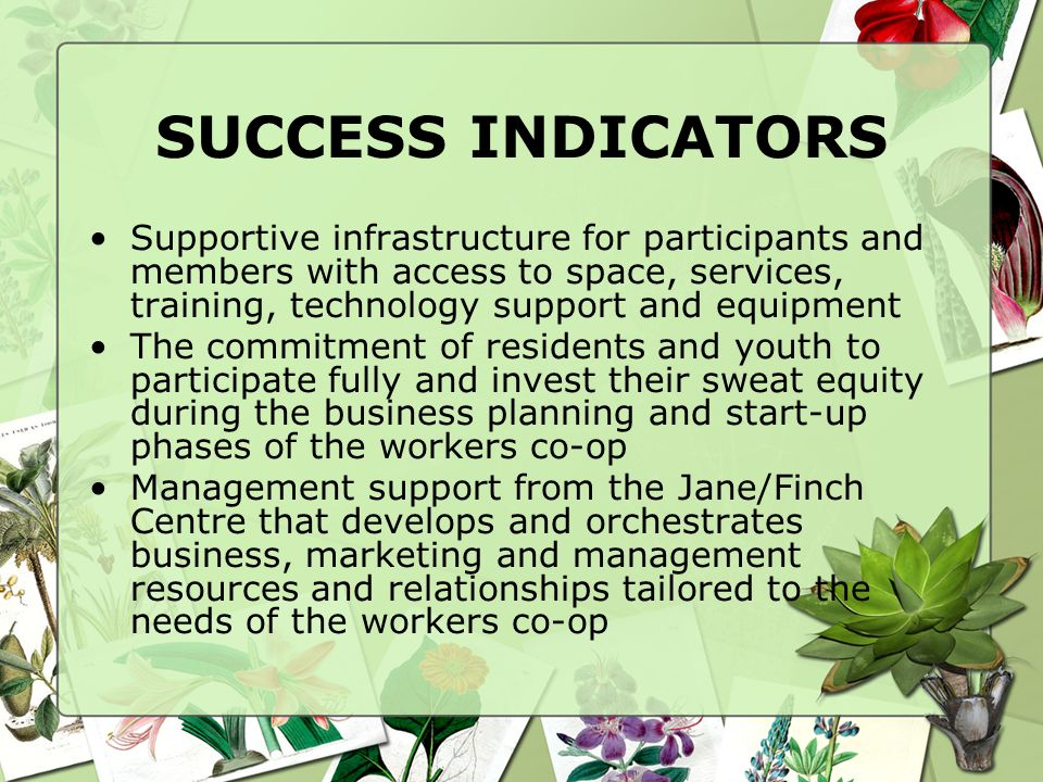 SUCCESS INDICATORS Supportive infrastructure for participants and members with access to space, services, training, technology support and equipment The commitment of residents and youth to participate fully and invest their sweat equity during the business planning and start-up phases of the workers co-op Management support from the Jane/Finch Centre that develops and orchestrates business, marketing and management resources and relationships tailored to the needs of the workers co-op