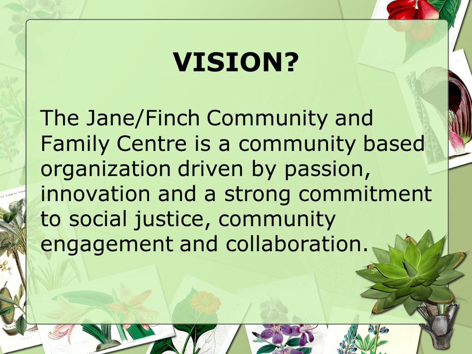 VISION? The Jane/Finch Community and Family Centre is a community based organization driven by passion, innovation and a strong commitment to social j