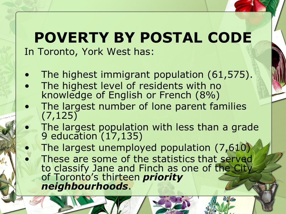 POVERTY BY POSTAL CODE In Toronto, York West has: The highest immigrant population (61,575).