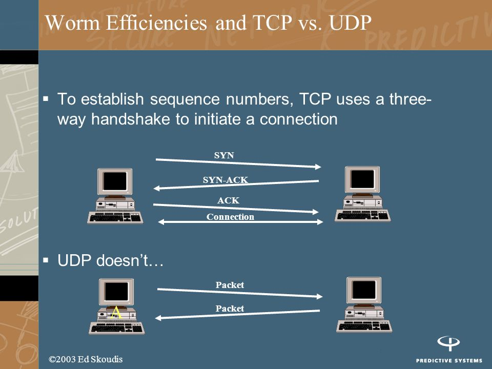 ©2003 Ed Skoudis Worm Efficiencies and TCP vs. UDP To establish sequence numbers, TCP uses a three- way handshake to initiate a connection UDP doesnt…