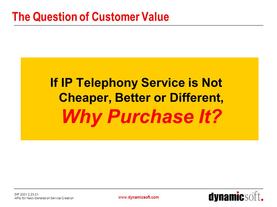 www.dynamicsoft.com SIP 2001 2.23.01 APIs for Next-Generation Service Creation The Answer IP Telephony Enables Innovative New Services Created by Combining Applications Web Email Chat Presence The Killer App for VoIP Lives Within These Combined Services