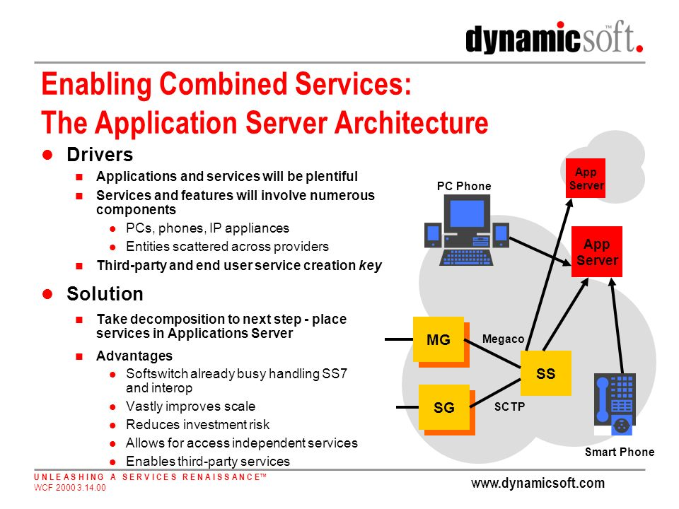 www.dynamicsoft.com U N L E A S H I N G A S E R V I C E S R E N A I S S A N C E WCF 2000 3.14.00 Enabling Combined Services: The Application Server Architecture Drivers Applications and services will be plentiful Services and features will involve numerous components PCs, phones, IP appliances Entities scattered across providers Third-party and end user service creation key Solution Take decomposition to next step - place services in Applications Server Advantages Softswitch already busy handling SS7 and interop Vastly improves scale Reduces investment risk Allows for access independent services Enables third-party services SS MG SG SCTP Megaco App Server Smart Phone PC Phone App Server