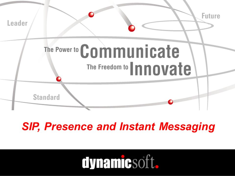 www.dynamicsoft.com Spring PIM 2001 SIP, Presence and IM Advantages of Using SIP for Presence and IM Unifies Major Communications Services Voice/video IM Presence Shared Databases Shared Proxies Shared Servers