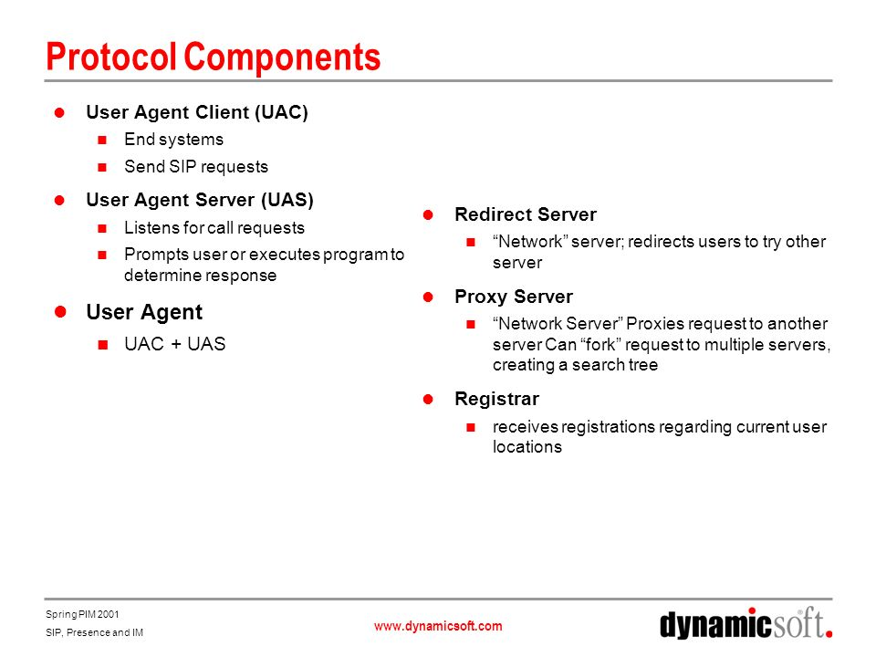 www.dynamicsoft.com Spring PIM 2001 SIP, Presence and IM SIP Architecture Request Response Media 1 2 3 4 5 6 7 8 9 10 11 12 SIP Client SIP Redirect Server SIP Proxy SIP Client (User Agent Server) Location Service 13 14